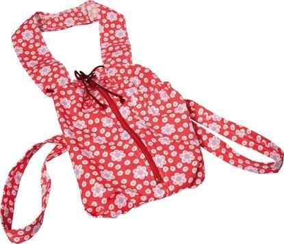 Katoenen draagzak voor poppen met rits, rood met witte bloemen.