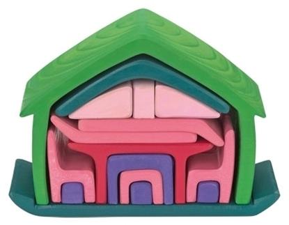 Afbeeldingen van Stel poppenhuismeubels in gekleurd lindehout (17stuks)