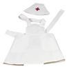 Tenue d'infirmière en pur coton consistant en un tablier et un bonnet portant une petite croix rouge.