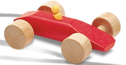 Afbeeldingen van Rode racewagen in hout