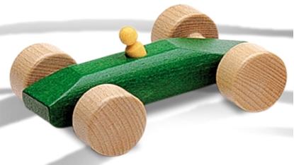 Afbeeldingen van Groene racewagen in hout