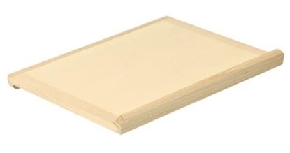 Rechthoekige houten speelgoed bakkersplank met aan elke kant een afwerkingslatje.