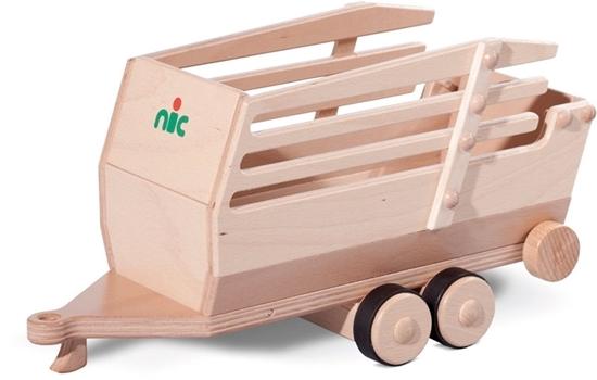 Houten dubbel-assige laadwagen, speelgoed lanbouwvoertuig.