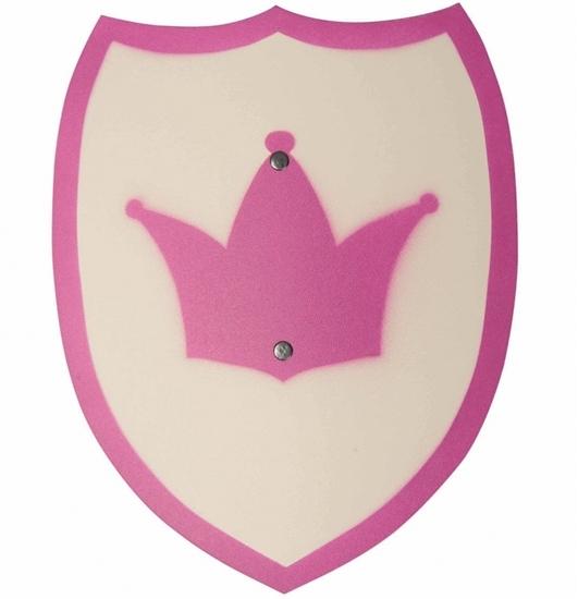 Klein houten prinsessen schild, wit met roze boord en in het midden een roze kroon op gedrukt.