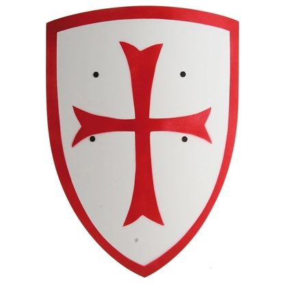 Afbeeldingen van Tempelier ridderschild wit met rood kruis
