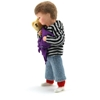 Doll for dollhouse, small boy with light blue trousers and grey and black striped hoody. He wears a Teddy bear in his arms and a purple cloth.