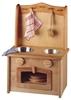 Speelgoed kookfornuis met gootsteen in massieve els. Vooraan een ovendeur met ruit en erboven 2 ronde knoppen. Bovenaan 2 ronde kommen in roestvrij staal. Erop kan men twee houten kookplaten om de gootsteen te veranderen in fornuis. Bovenaan het fornuis is er een bovenwand met haakjes om het kookgereedschap aan op te hangen.