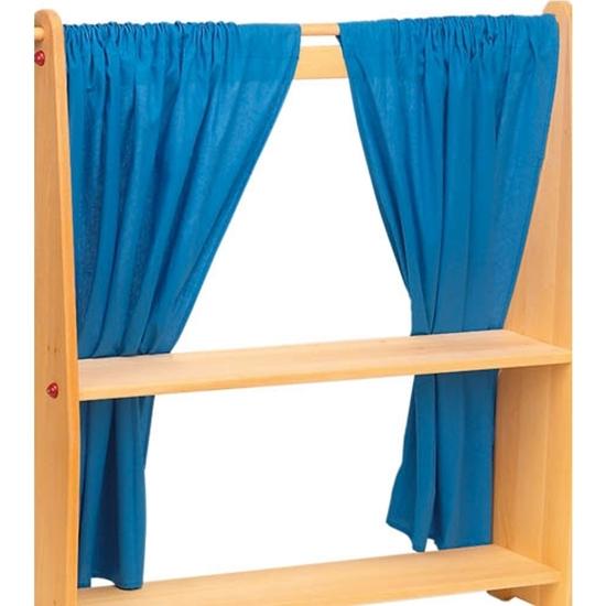 De Speelgoedfee. Set van 2 blauwe gordijnen voor speelstandaard