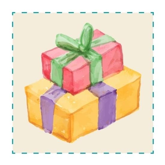 Een tekening van twee geschenken boven elkaar gestapeld, één wat groter geel geschenk met paarse strik vanonder en één kleinere rode cadeau met groene strik bovenaan.