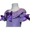 Partie supérieure d'une robe de princesse mauve avec large col et trois rubans mauves, deux sur les manches courtes et une sur la poitrine.
