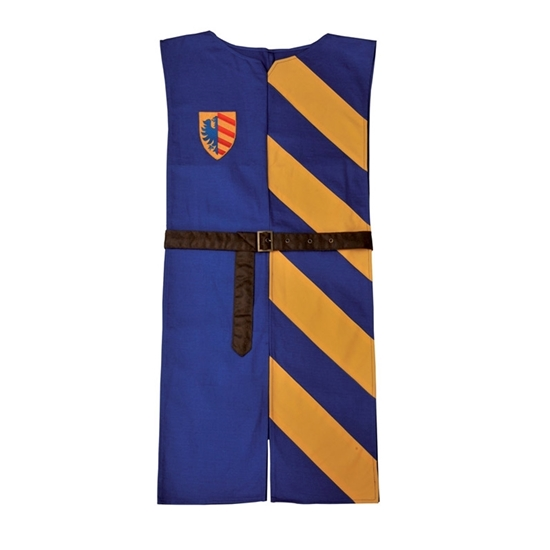 Tabard de chevalier en pur coton avec ceinture en simili-cuir. Le côté droit est bleu-roi uni avec un écusson sur la poitrine, le côté gauche est rayé jaune et bleu.
