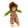 Doll with brown mohair hair and brown eyes, wearing a green sweatshirt and pink and green striped trousers.