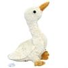 Oie blanche en peluche de coton bio, avec le bec et les pattes jaune foncé et sur le dos une petite pastille pour activer par traction la boîte à musique.