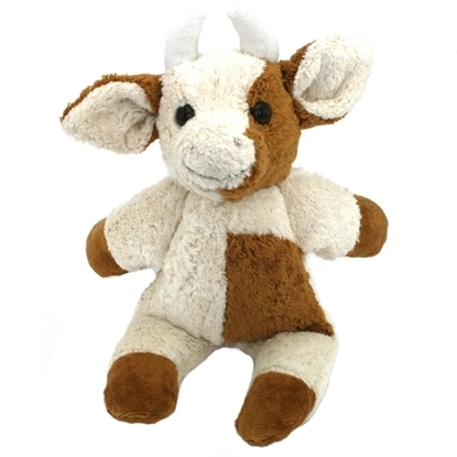 Knuffel koe in bio katoen met horens, Half wit, half bruin gevlekt.
