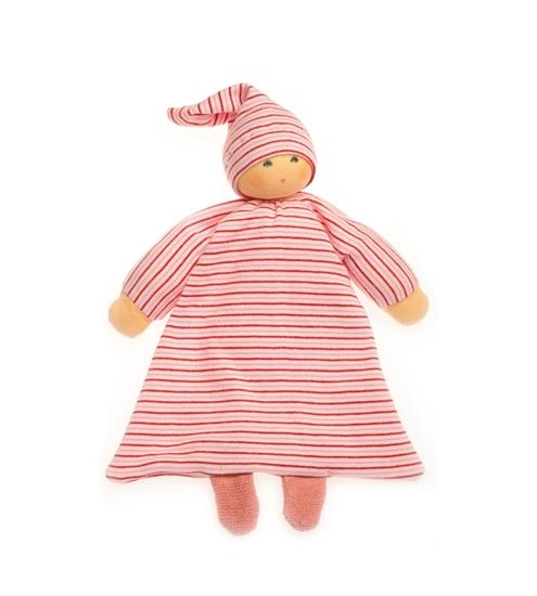 Rood gestreept bedpopje met lange muts gemaakt in bio katoen, gevuld met bio wol, knuffel voor baby.