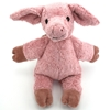 Petit cochon  câlin en coton bio rose, assis.