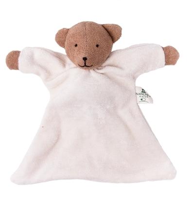 Lappenbeertje met een wit lijf, een bruine kop en bruine poten, in badstof van  bio katoen.