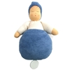 Blue music box doll in organic cotton. Blue body, blue hat, white sweatshirt. Hand painted face.