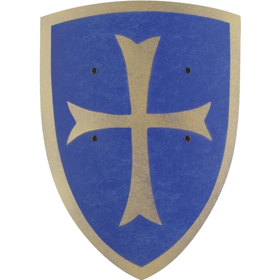 Groot blauw ridderschild met zilveren tempelierkruis en zilveren rand in gebogen hout.