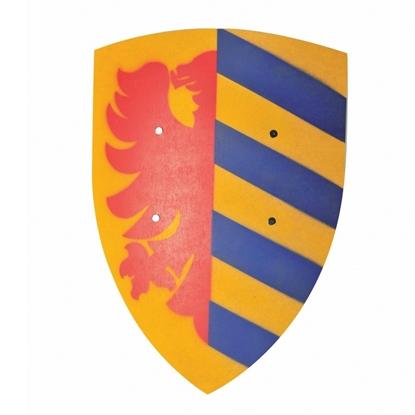 Geel gebogen houten ridder schild met op de linker helft een halve rode heraldische arend en op de rechter helft 5 schuine blauwe strepen afgedrukt.