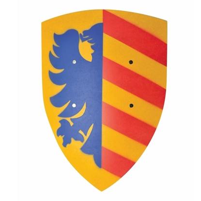 Geel gebogen houten speelgoed schild, met op de ene vertikale helft 5 rode strepen en op de andere helft, een halve blauwe heraldisch arend afgedrukt.