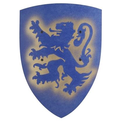 Afbeeldingen van Groot blauw ridderschild met leeuw