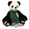 Panda beer in mohair met lange groene wollen sjerp.