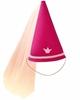 Chapeau de princesse ou de fée en feutre fuchsia de forme conique dont le bord inférieur est décoré d'un galon rose clair et d'une couronne rose clair et  muni d'un élastique pour fixer le chapeau sous le menton et à la pointe duquel se déploie un voile de tulle rose.
