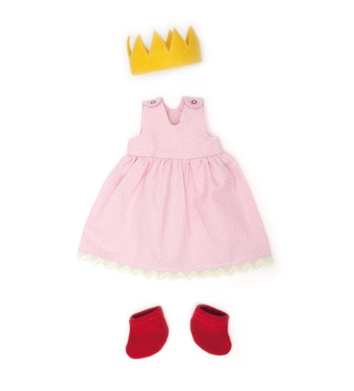 Roos poppenkleedje zonder mouwen in bio katoen met rode sokjes en een geel kroontje in wol vilt.