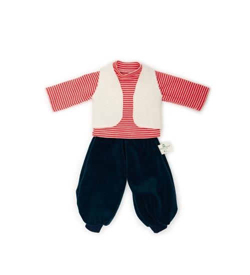 Bio poppenkleren bestaand uit een zwarte pofbroek, rood-wit gestreepte sweat-shirt met lange mouwen en een wit wollen vestje zonder mouwen.