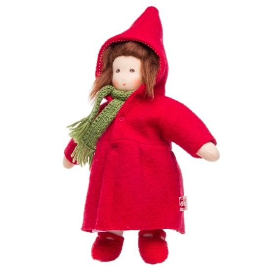 Afbeelding van Pop met rode mantel en kleed