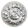 Round metal baking mould in the shape of a sun.