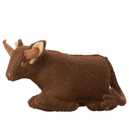 Afbeeldingen van Speelgoed koe in vilt 100% wol