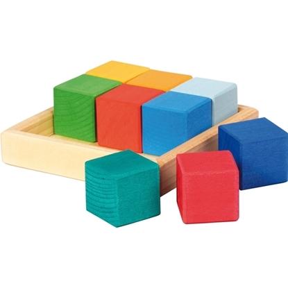 Afbeeldingen van Set van 9 veelkleurige blokken in doosje