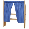 Set of 2 blue curtains hanged on the play stands