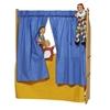 Set de rideaux bleus pendus à une étagère de jeu pour jouer au guignol, avec 3 marionnettes.