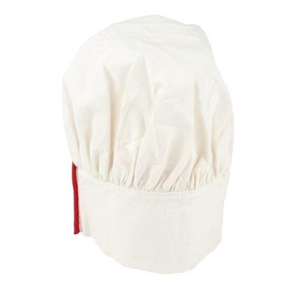 Witte koksmuts voor kind, met regelbare hoofdomtrek afgesloten door een klein rood streepje.