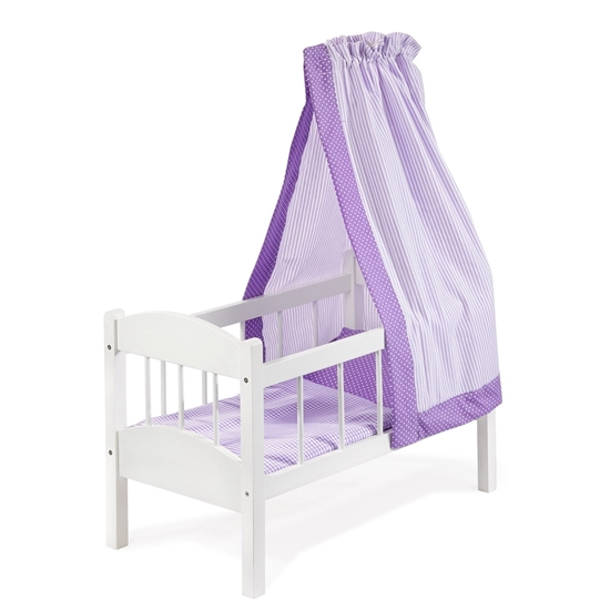 Witte poppenwieg met paarse hemel en paars beddengoed.