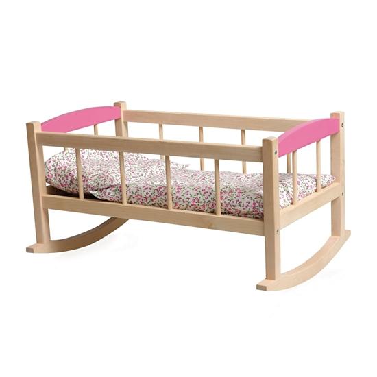 Poppenschommelbed in beukenhout met 2 roze bovenstukken en roos gebloemd beddengoed.