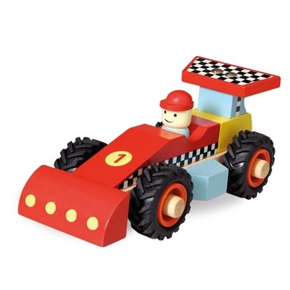 Afbeeldingen van Houten rode racewagen nummer 1