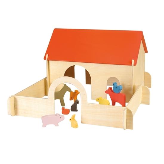 Speelgoed boerderij gemaakt van planken die in elkaar schuiven, muren in natuurhout, rood gelakt dak, geleverd met bijpassende dieren.
