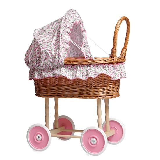 Afbeelding van Rieten poppenwagen met bloemenbekleding