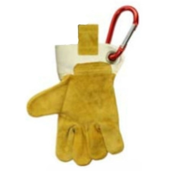 Single work glover for kids, made of genuine suède leather and canvas and equipped with a metal carabiner to hang on the work belt.