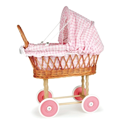 Afbeeldingen van Rieten poppenwagen met roos geruite bekleding