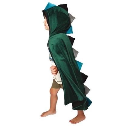 Een kind van vijf jaar draagt een groen fluwelen mantel met kap. Van  aan het voorhoofd tot onderaan de mantel  staan puntige drakenschubben langs de wervelkolom alternerend in 3 kleuren: licht groen, donkergroen en grijs.