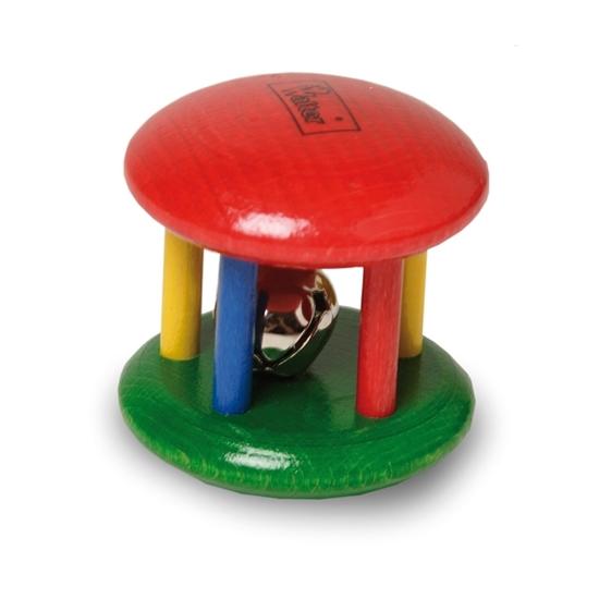 Cilinder met een metalen belletje omringd door 5 kolommen in verschillende kleuren, een houten rammelaar voor baby's