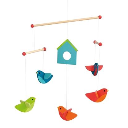 Afbeeldingen van Mobiel met veelkleurige houten vogeltjes