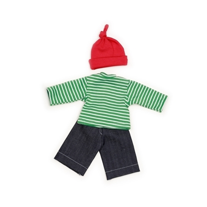 Donker blauwe poppen jeans, daarboven een wit en groen gestreepte poppen sweatshirt, en daar nog boven een rode katoenen poppen muts met een knoop in de top.
