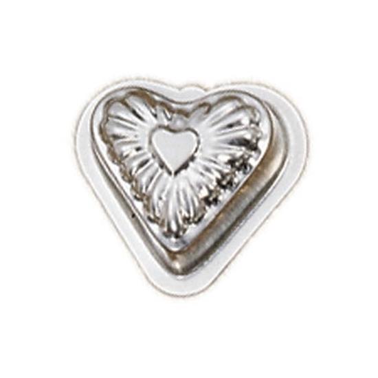 Metalen speelgoed bakvorm in de vorm van een hart.