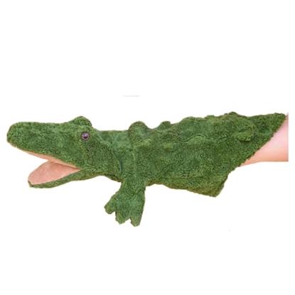 Een groene marionet Krokodil in bio katoen met roze wijdgesperde mond en bruine glanzende ogen.
